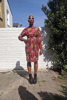 Stunning 80s Silk Flower Print dress XS