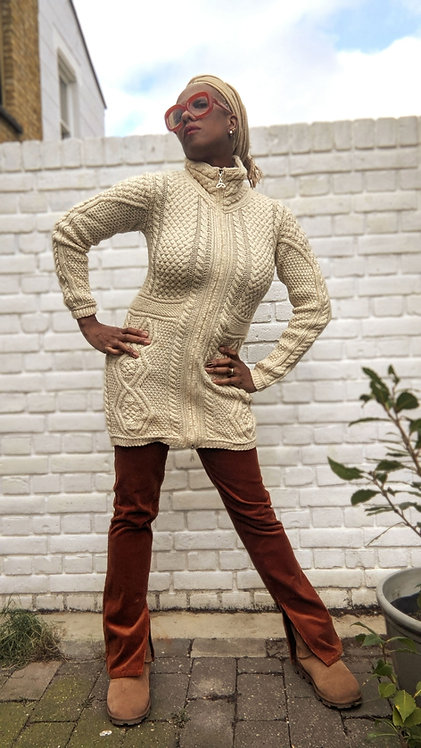 Cool cream Aran cable knit long cardigan XS S