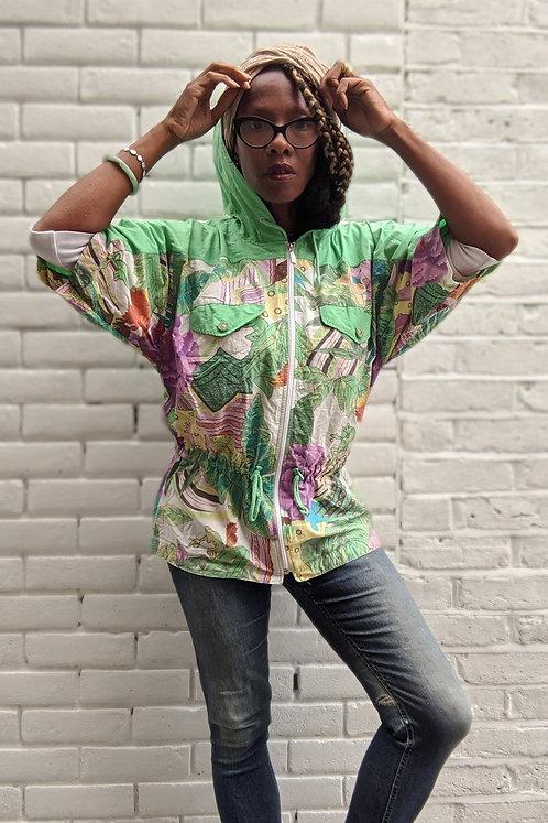 Cool 80s Frog Print Batwing zip Hoodie  jacket