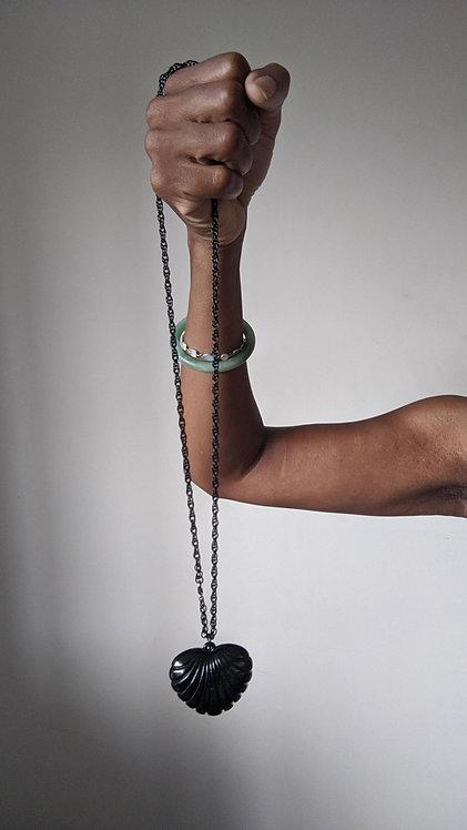 vintage black heart necklace