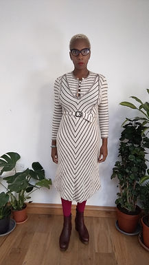Vintage 80s knit dress with striped detail S XS
