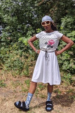 vintage 80's Rose & stripe Arty print dress