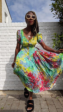Stunning Multicoloured 80s summer dress