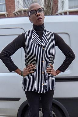 90s striped monochrome Vest shirt M L
