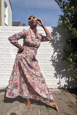 Stunning 60s Arty Paisley Print dress XS