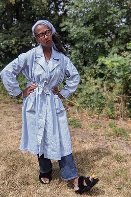 Chic vintage 1960s striped Lab Coat ML