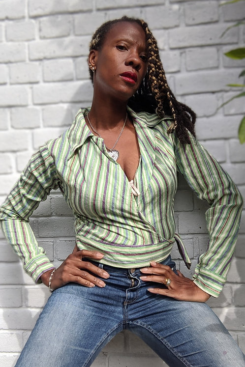 1970s striped wrap top