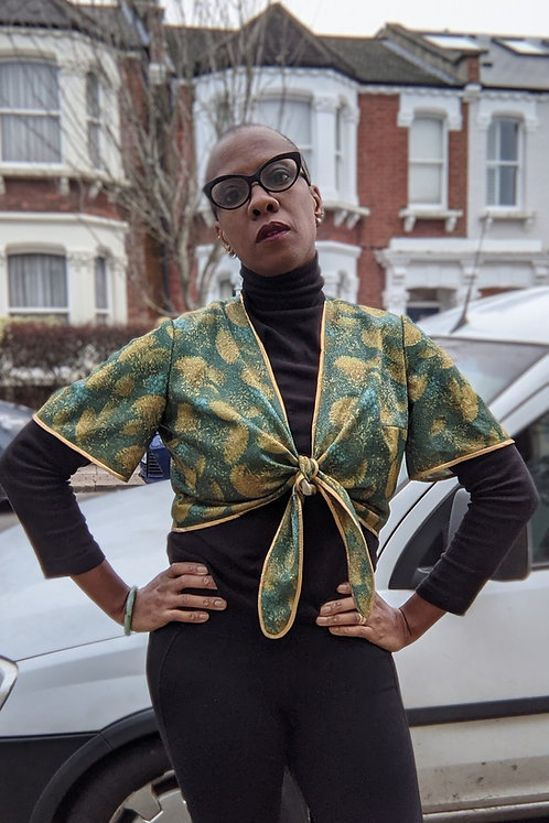 Stunning vintage gold and green wrap top