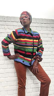 Vintage Rainbow Striped Wool cardigan jacket L