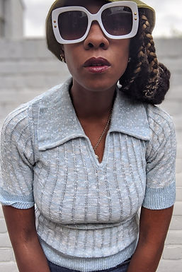 vintage 70s Pastel Blue knitted Polo top St Michael
