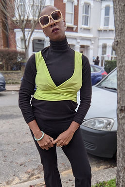 Lime Green  90s crop wrap top XS