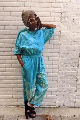 vintage 80s Turquoise Tie Dye Jumpsuit M