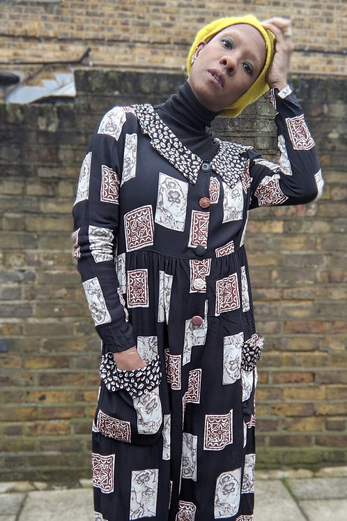 vintage 80s Big Collar Jumpsuit L patchwork print