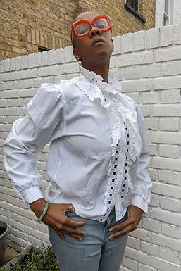Lovely 80s vintage Ruffle lace white blouse S M