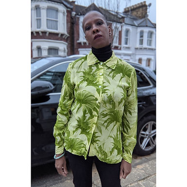 Cool vintage 90s palm Leaf print shirt ML