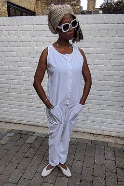 vintage white 90s Boilersuit S M