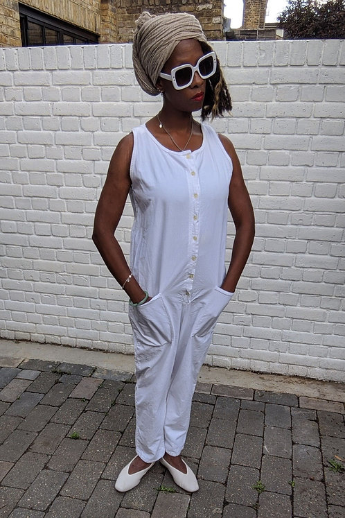 vintage white 90s Boilersuit S M