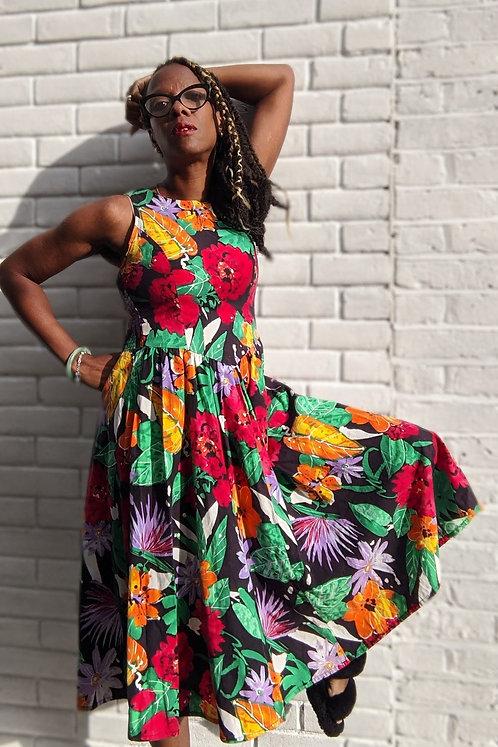 Vintage 80s Tropical Print Dress