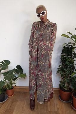 Vintage 80s Oversized maxi dress with leaf print L XL