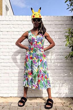 vintage 90s Tropical Print St Michael Dress S
