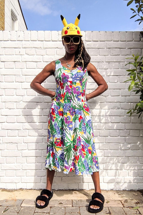 vintage 90s Tropical Print St Michael Dress S
