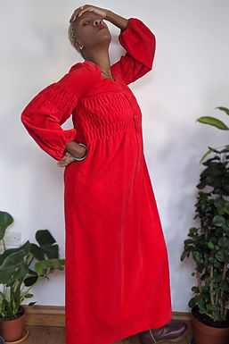 Lovely 60s Red Velvet Empire line maxi dress