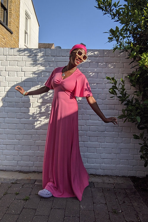 Beautiful 1970s Pink Maxi dress XS