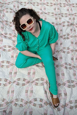 80s batwing cotton boilersuit in green