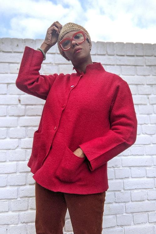 Red Vintage 90s wool Cardigan jacket M L