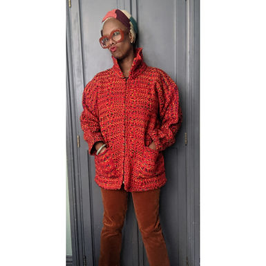Cool red rainbow weaved Wollen 90s jacket L