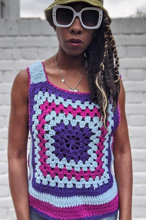 Cool 70s vintage Crochet Knit Tank top