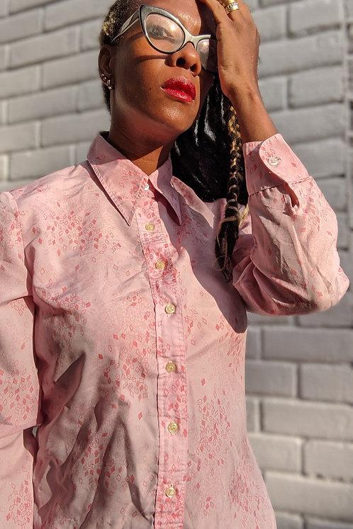 vintage 70s French vintage pink shirt