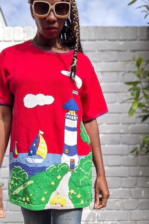 vintage 90s Lighthouse Appliqué & Embroidery knit L