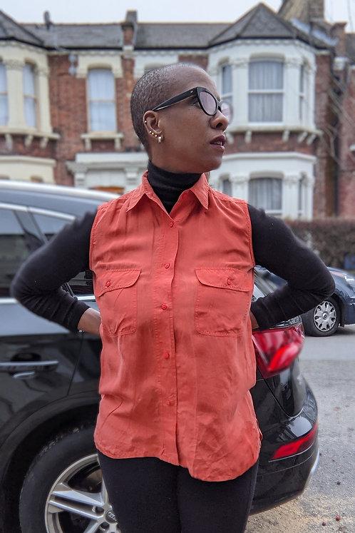 Vintage 90s Orange silk shirt SM
