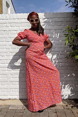 lovely 70s Empire line maxi dress S