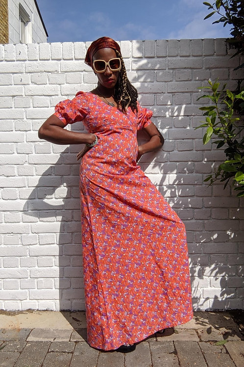 lovely 70s Empire line maxi dress S