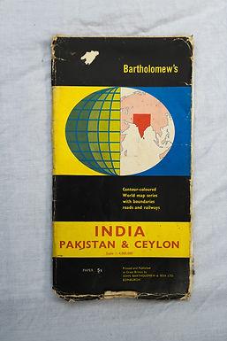 1960's Vintage Map of India, Pakistan & Ceylon