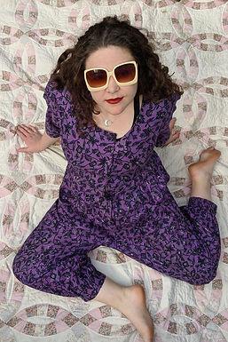 Vintage 80s Batik cotton jumpsuit in purple