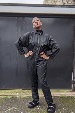 black vintage jumpsuit oversized ML