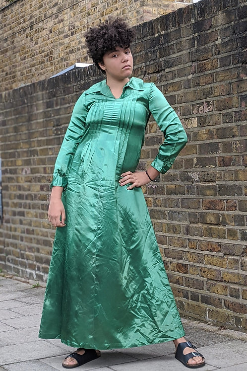 vintage 70s Emerald Green Satin Maxi dress Uk 6 Uk 8