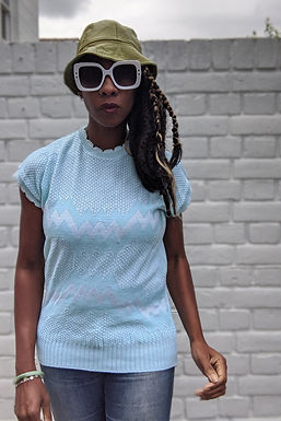 vintage 80s pastel blue knit