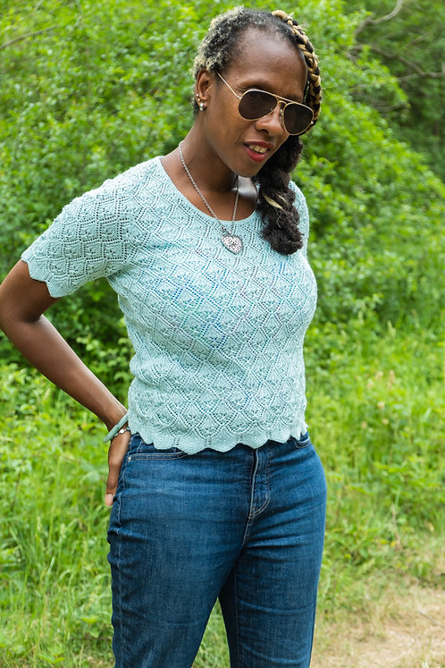 Sweet vintage pastel blue knit  M L
