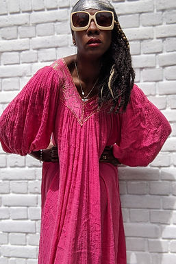 lovely 1970s Hot pink Cheese cloth smock dress S M