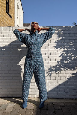 Cool 80s Quilted Jumpsuit L XL