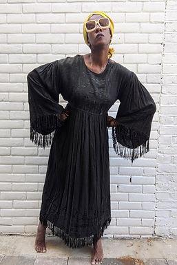 Stunning 70s Black Tassel sleeved maxi dress