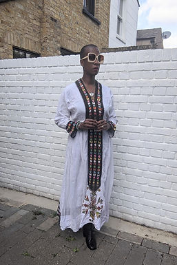 Vintage 70s Embroidery white Cheesecloth Maxi dress