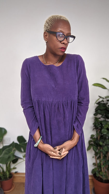 Vintage 80s purple corduroy dress S