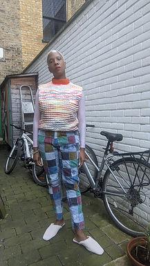 Cool vintage rainbow knit tank top