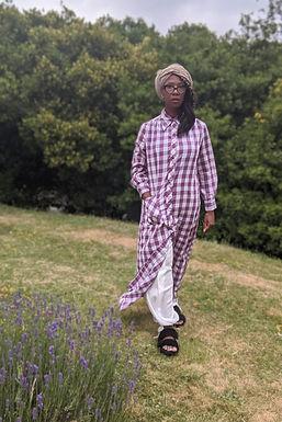 vintage 1970s Check maxi dress Purple L XL
