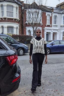 Vintage big collar crochet top S